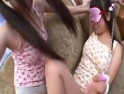 2 Sexy Asian Girls in their underwear effectuation with blindfolds and ropes