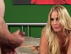 Astonishing blonde in lingerie watching loser