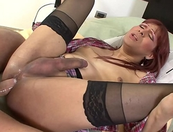 Cute transsexual in sexy stockings ass fucked