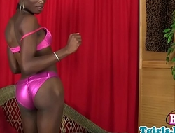Nubian tgirl wanking and stroking her dick