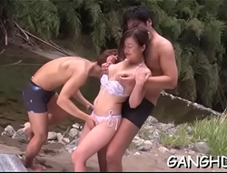Hot asian's lusty group sex