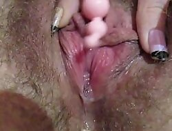 Fat clit unendurable with 3 different knick-knack in mediate up dripping wet orgasm
