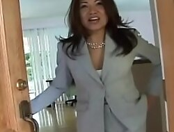 Asian MILF Jackie Lin takes also fuze creampies from big white flannel