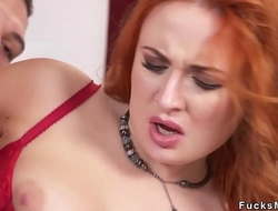 Teen guy bangs Russian redhead Milf