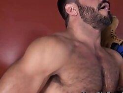 Piping hot inked less gay bear getting fucked