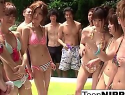 A bunch of Japanese bikini babes have the impression wrestling match!