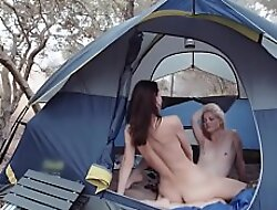 Horny upper classes scissoring in the forest