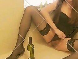 Hot Newborn Fucking Herself With Wine Bottle
