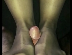 Fucking wife's feet in crotchless pantyhose