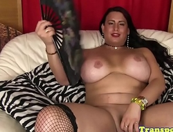 Chubby trans babe strokes her cock