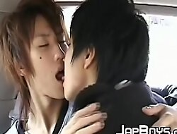 Japanese twinks kissing deep down all over the back be fitting of the car