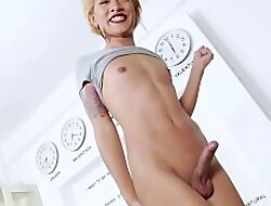 Wordy chested ladyboy teen stroking the brush rock hard cock