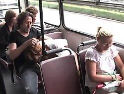 Chestnut mollycoddle fucking in public bus