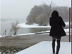 Crossdresser out winter