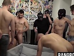 Muscular tattooed gays sucking cock with the addition of fucking nearby orgy