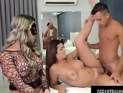 Masked Tgirl Juliana Leal Helps TS Janaina Carvalho Satisfy Her Boyfriend
