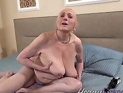 Busty grandma gets creampied