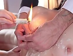 Teen bide one's time waxed and fucked in all directions threesome