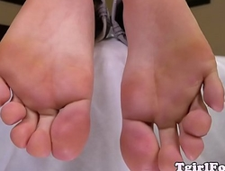 Pedicured portable radio amateur curls her toes
