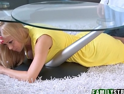 Hot MILF Stepmom Stuck And Fucked Under Table By Son