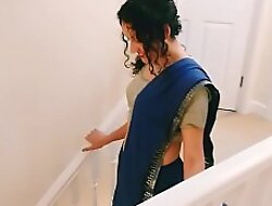 Desi young bhabhi strips alien saree to please you Christmas present POV Indian