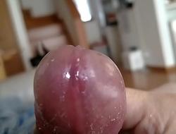 Closeup wet cock masturbation