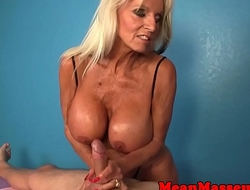 Mature masseuse ruining her clients climax