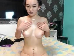 Hot Asian rubbing pussy tease