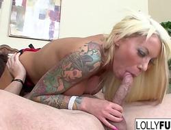 Sexy Lolly sucks his cock plus swallows his cum