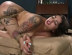 Domineer tied Latina ass and pussy whipped