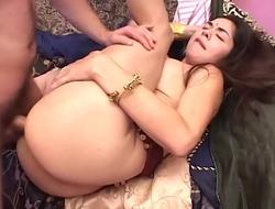 Dark Skin Sexy Babe Seducing White Stuf With Blowjob