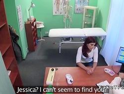 Redhead masturbates for her doctor