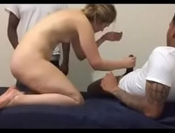 Blond girl and gangbang