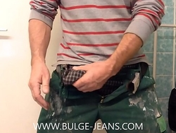 Showing Huge Bulge And Jerking