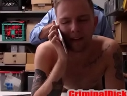 Tatted College Jock caught and fucked bareback by Cop