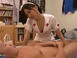 Japanese nurse with staggering ass visits their way patient