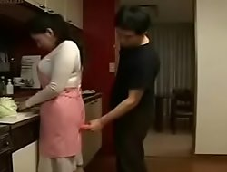 Hot Japanese Asian Mom fucks her Son roughly Kitchen