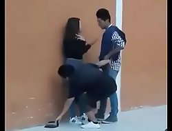 Thresome teen having sex forward movement public objurgatory