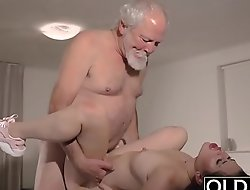Teen Interrupts Grandpa from Yoga And Sucks his Cock wet and lasting