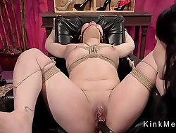 Bent over Asian anal fucked in lezdom