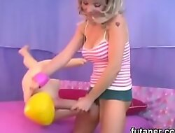 Feisty teens ride the strongest strap-on dildos and spray load everywhere