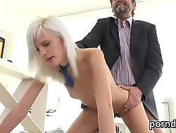 Erotic college cookie was seduced and reamed by her older schoolteacher