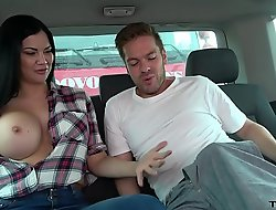 Ryan Ryder convince young innocet sweet Jasmine Jae to turtle-dove in driving fore-part