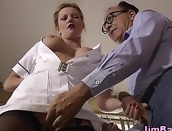 British nurse tugs cock