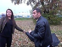 Big girl at hand broken umbrella cheated and fucked in driving van