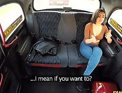 Brunette teen gets fucked really abiding in a fake taxi