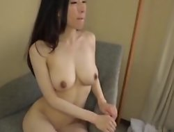 Asian japanese av idol being fucked in hardcore sex movie, man in costume is licking her pussy and cums on her tits
