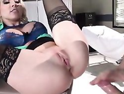 Sexy blonde doctor gets her tight asshole hammered