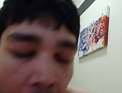 Asian Gets Cum In Mouth After Blowjob