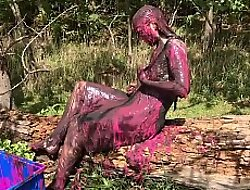Messy Cute Girl, Dirty Muddy and Gunged in Sexy Pink